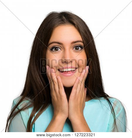 Surprised woman with big open eyes