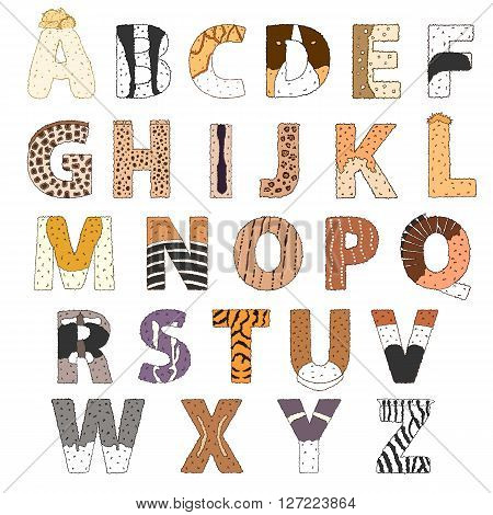 Furry alphabet. Hand drawn vector ilustration isolated on white. Letters with animal pattern. Cute childish lettering