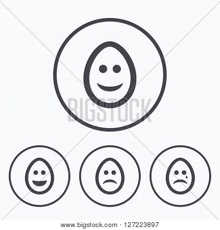 Eggs happy and sad faces icons. Crying smiley with tear symbols. Tradition Easter Pasch signs. Icons in circles.
