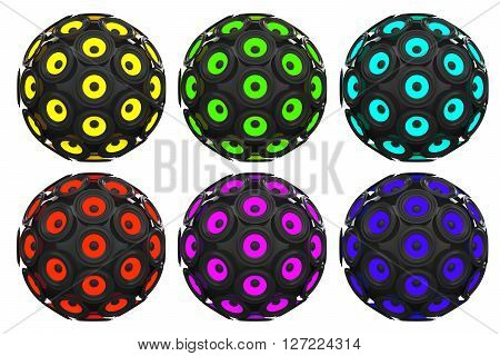 Multicolour Audio Speakers as Sphere on a white background. 3d Rendering