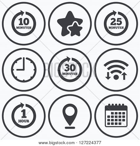 Clock, wifi and stars icons. Every 10, 25, 30 minutes and 1 hour icons. Full rotation arrow symbols. Iterative process signs. Calendar symbol.