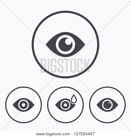 Eye icons. Water drops in the eye symbols. Red eye effect signs. Icons in circles.