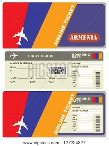 Flight trip for a flight to Armenia with the service envelope.