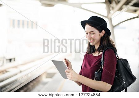 Navigation Lady Metro Urban Trip Traveler Public Concept