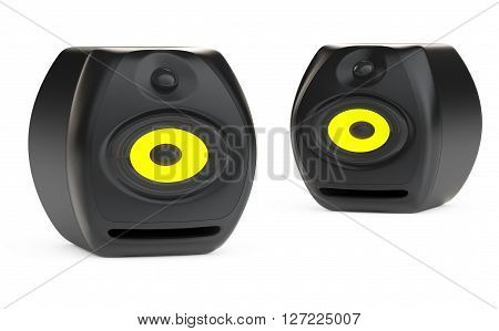 Funny Deformed Audio Speakers on a white background. 3d Rendering