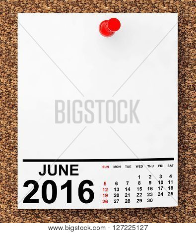 Calendar June 2016 on blank note paper with free space for your text.3d Rendering