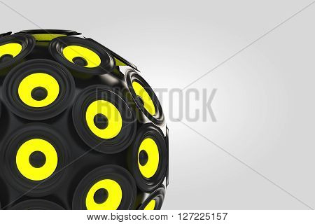 Audio Speakers as Sphere on a white background. 3d Rendering