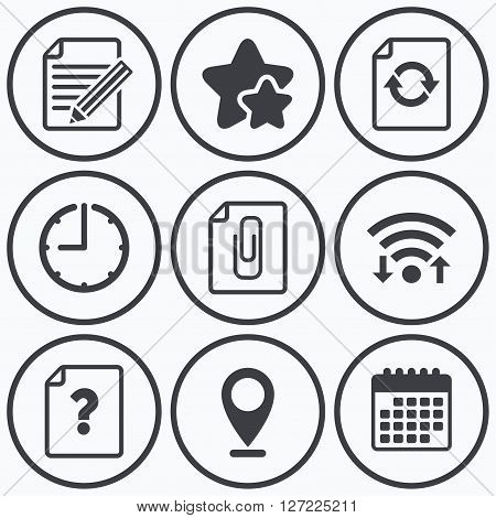 Clock, wifi and stars icons. File refresh icons. Question help and pencil edit symbols. Paper clip attach sign. Calendar symbol.
