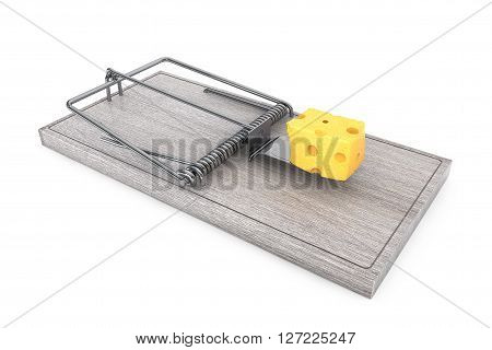 Mouse trap with a lpiece of cheese on a white background. 3d Rendering