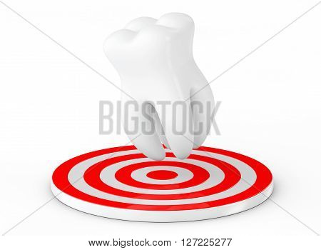 Stomatology concept. Tooth over Target on a white background. 3d Rendering