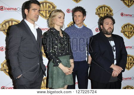 LAS VEGAS - APR 12:  Colin Farrell, Alison Sudol, Eddie Redmayne, Dan Fogler at the Warner Bros. Pictures Presentation at CinemaCon at the Caesars Palace on April 12, 2016 in Las Vegas, CA