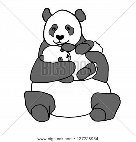 Panda holding cub. Hand drawn vector illustration isolated on white. Cute mother panda with little baby