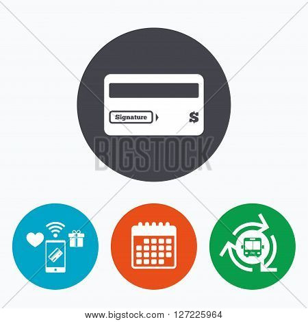 Credit card sign icon. Debit card symbol. Virtual money. Mobile payments, calendar and wifi icons. Bus shuttle.