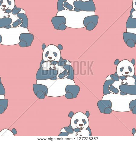 Seamless pattern with panda holding cub. Hand drawn vector illustration on pink background. Cute mother panda with little baby