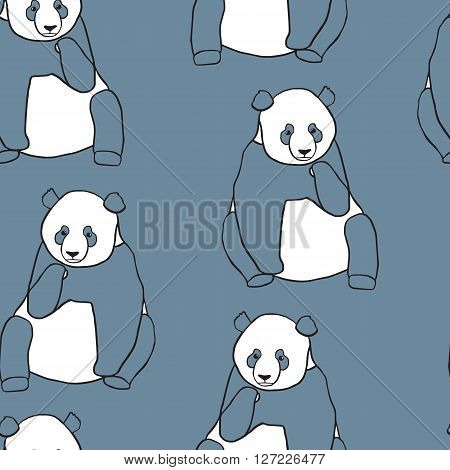 Seamless pattern with panda holding cub. Hand drawn vector illustration on blue background. Cute mother panda with little baby