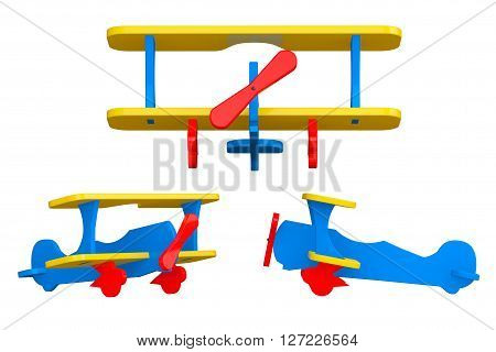 Toy Multicoloured Biplanes on a white background. 3d Rendering