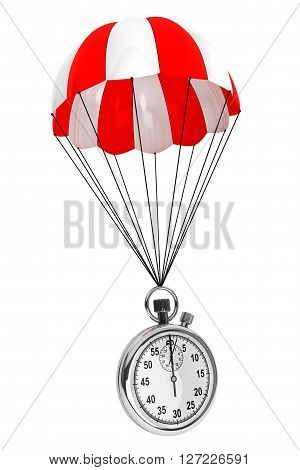 Red and White parachute with Stopwatch on a white background. 3d Rendering