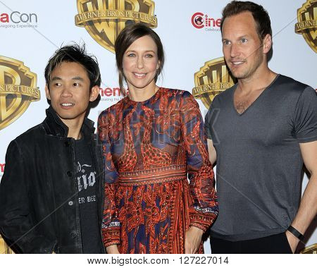 LAS VEGAS - APR 12:  James Wan, Vera Farmiga, Patrick Wilson at the Warner Bros. Pictures Presentation at CinemaCon at the Caesars Palace on April 12, 2016 in Las Vegas, CA