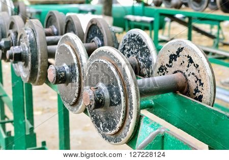 Vintage color filter / Old rusted dumbbell (dumbbell, rust, weights)