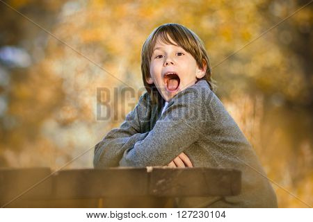Little boy outside on bench in park yelling