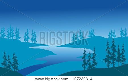 Silhouette of river and spruce with blue backgrounds