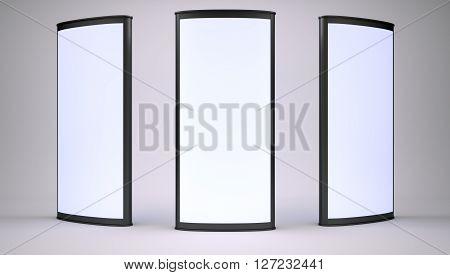 Advertising lightboxes in empty gray studio. 3D rendering