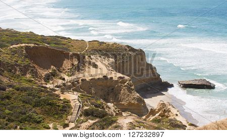 view of beautiful cliffs at the coast of southern california torrey pines state natural reserve