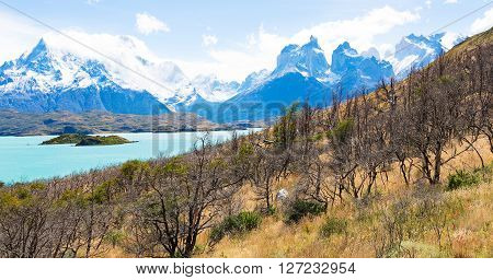 gorgeous panorama of paine grande and cuernos del paine famous peaks in torres del paine national park patagonia chile