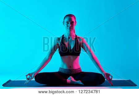 woman yoga exercices Padmasana Lotus position