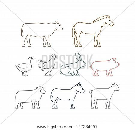 Vector line set of farm animals. Silhouettes cow pig and rabbit isolated on a white background. Linear icons horse sheep and chicken.
