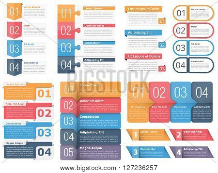 Infographic templates with numbers and text, business infographics elements set, workflow, process, steps or options, vector eps10 illustration