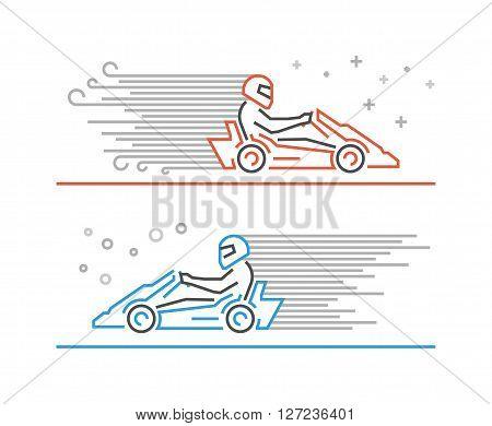 Multicolored line go kart logo. Modern outline karting symbol. Vector line kart. Cool karting icons.