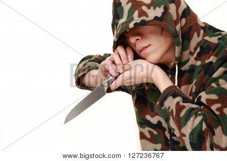 phantom killer with kitchen knife on white background