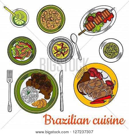 Nutritious brazilian cuisine sketch with colorful symbols of traditional beef picanha skewer, pork and bean stew feijoada served with rice and oranges, shrimp stew, chicken soup canja, spicy prawns with chili peppers, chimichurri sauce and lime cocktail c