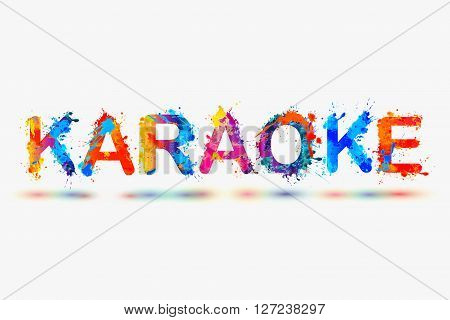 Karaoke. Vector watercolor rainbow splash paint word