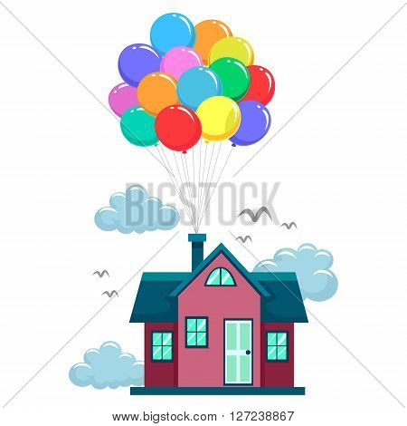 Vector Illustration of House Fly by Colorful Balloons