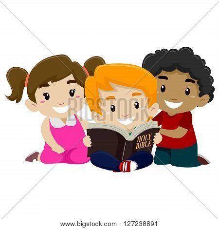 Vector Illustration of Children sitting while Reading Bible