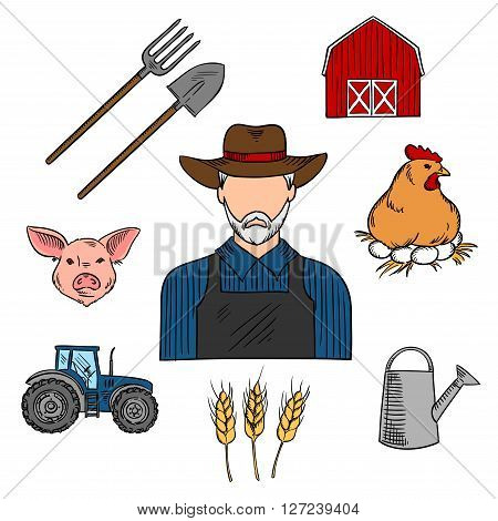 Retro colored sketch of mature bearded farmer, surrounded with barn, tractor, cereal ears, chicken on a nest with eggs, pig head, watering can and spade with pitchfork. Use as agriculture or livestock professions design
