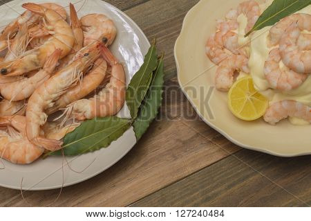 cooked prawns, peeled prawns with mayonnaise, bay leaves