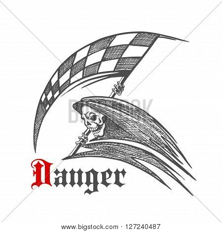 Deathful race sketch icon of furious skeleton or grim reaper with stylized checkered racing flag. Use as racing club, motorsport competition symbol or tattoo design