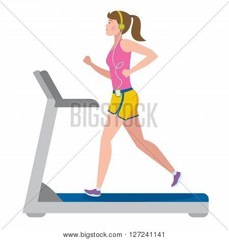 Fit girl running on treadmill on white.