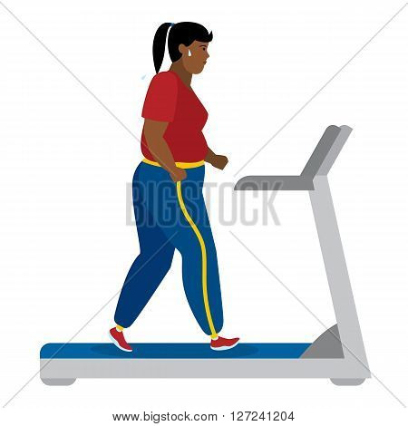 Fat african american girl running on treadmill on white.