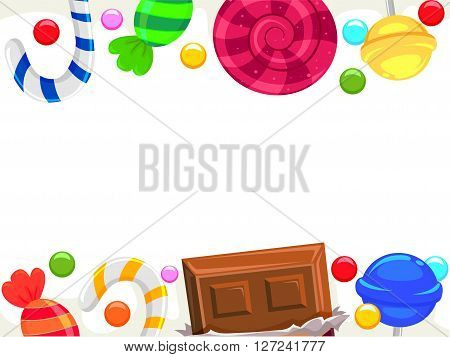Vector Illustration of Candy and Chocolate Borders