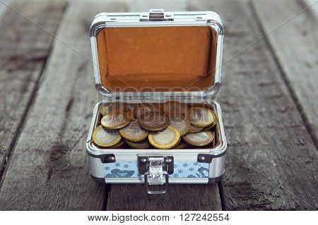 Coins Money In Small Box On Table. Ruble.