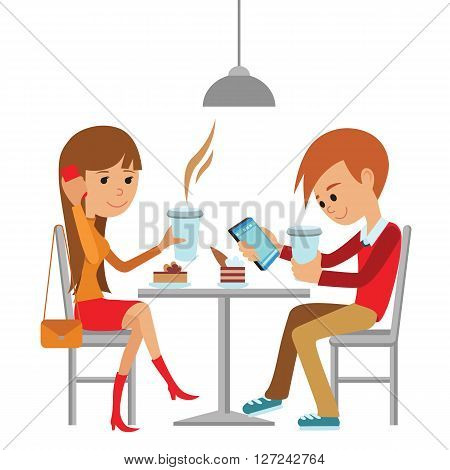 Couple sitting in the cafe, flirting and talking about something. Flat modern illustration of students using laptop. Vector illustration of template for menu, brochure, flyers for cafe or restaurant.