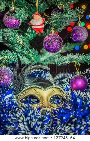 Christmas composition of the mask Christmas tree balls santa claus snow tinsel ** Note: Visible grain at 100%, best at smaller sizes