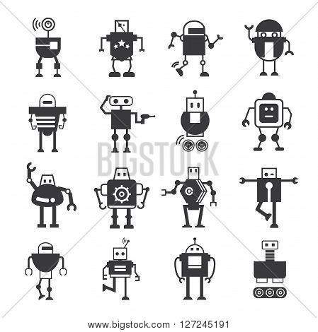 set of 16 cute robot icons in white background