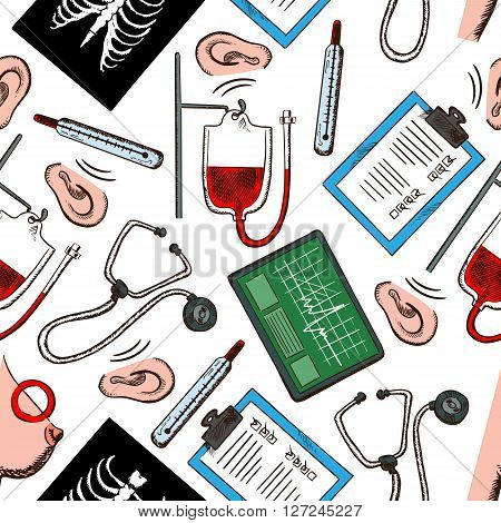 Preventive medicine and diagnostics seamless pattern with medical check up forms, stethoscopes, thermometers, ecg monitors, blood bags, chest x-rays, hearing and breast cancer testing on white background. Use as healthcare theme design