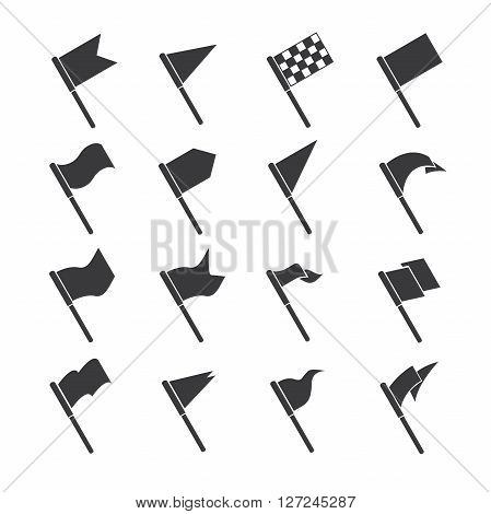 set of 16 flag icons in white background