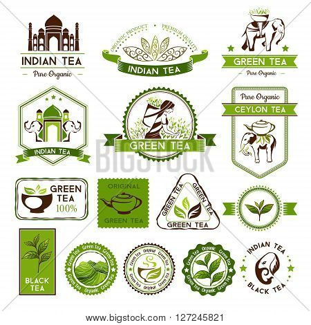 Green, indian, ceylon and black tea labels, badges and banners. Tea decorative elements for package design
